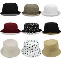Unisex Cotton Reversible Bucket Hat Packable Summer Travel Fishing Cap