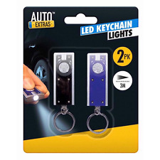 2 X Ultra Bright LED Keyring Light Torch Flash-light Camping Includes Batteries