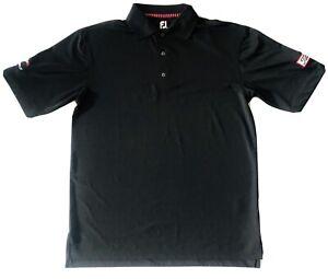 Titleist Footjoy Mens Golf Polo Shirt FJ Size Medium Black Titleist Tour Patch