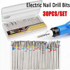 30Pcs Electric Nail Drill Bits 2.35mm Shank Kit Milling Cutter Manicure