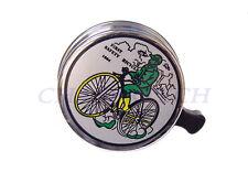 New MTB Bicycle Bike Steel Bell Green Man On Bike Chrome Plated