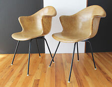 Rare Pair Fiberglass/Burlap Shell Arm Chairs Cole Steel Eames Era