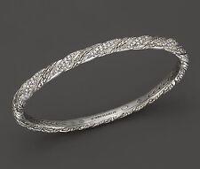 $1,500 John Hardy M Metallic Classic Chain .39ct Diamond Small Hinged Bangle NWT