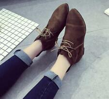 Women Flat Pointed Toe Lace Up Ankle Boots Casual Solid Fashion High Top Shoes
