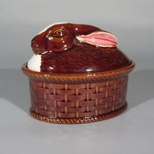 Authentic Portuguese, French Market Faience Rabbit Terrine, Signed, Portugal