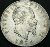 Moneta 5 lire Vittorio Emanuele II  Regno D'Italia   1876 R  ( 1032 )