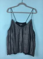 Topshop Black Silver Pleated Strappy Cropped Floaty Top Size 16 - B40
