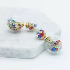 Trendy colourful glass double sided stud earrings
