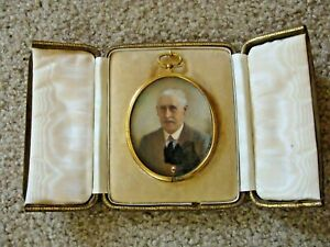 Antique 1920's Miniature PORTRAIT of MAN Suede Case w Gold & Silk Lining Signed