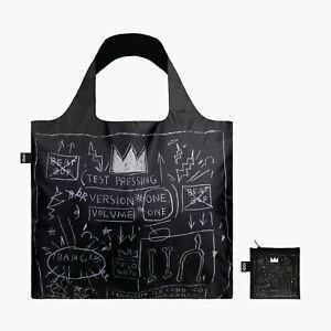 LOQI Tote Black Canvas Bag CROWN Graffiti Artist Jean-Michel Basquiat & pouch