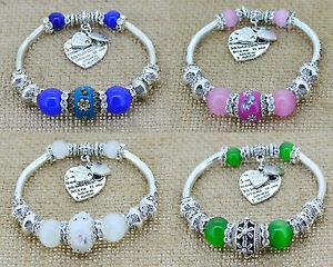 Beautiful New Ethnic Silver Love Charm Glass Beads Bracelet Bangle,Colour Choice