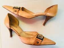 Minelli Real Leather Tan Italian Leather Court Shoes Cut Out Sides Size UK 5