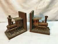 2Pc  Vintage Rustic Tin Bookend Steam Engine Train Library Decor