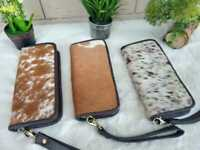 Women Cowhide Hair On Purse Brown and White Real Leather Cow Hide Gift Wallet