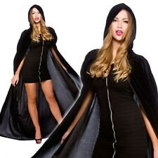 Deluxe Gotico Nero Velluto Con Cappuccio Mantello Cape Lungo Vampiro Halloween Fancy Dress