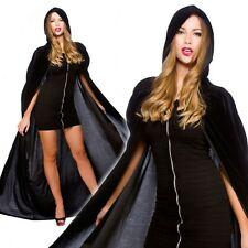 Deluxe Gotico Nero Velluto Con Cappuccio Mantello Cape Lungo Vampiro Halloween Fancy Dress