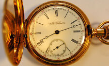 1888 year model Amn. Waltham Pocket Watch, 16 Jewels 14K Gold Hunter Case