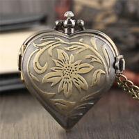 Bronze Copper Heart Design Women Quartz Pocket Watch Necklace Chain Gift