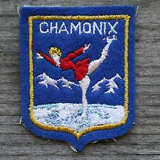 CHAMONIX ICE SKATING Vintage Ski Patch FRANCE Skiing Travel Felt Figure Mt Blanc