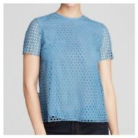TORY BURCH $295 Blue Crescent Guipure Lace Top 12 Pleated Back Blouse