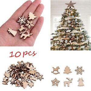 10pcs Xmas Christmas Tree Santa Deer Wooden Party Ornament Tool Decoration DIY