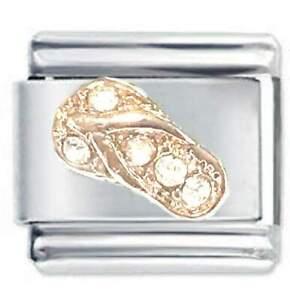 Daisy Charm Rose Gold Sandal & Crystal - For 9mm Italian Modular charm bracelets