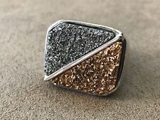 Silver and Gold Colored Druzy Ring in Bronze Size 10