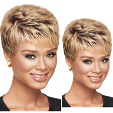 Hair Wigs Pixie Cut Short Brazilian Hair Glueless None Lace Wig Mix Brown Color