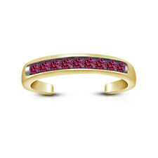 Toe Ring In 14K Yellow Gold Over Pink Sapphire Open Back Channel Set Adjustable