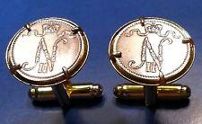Russian Antique N N Initials Imperial Tsar Nicholas Russia Coin Cufflinks + Box!