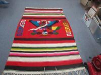 Vintage Mexican Latin American Folk Art Blanket Wool Kilim  Rug 4'3 x 6'6