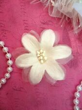 "Organza Flower Applique 3D Sheer Ivory Glitter Beaded 2.5"" (GB422-iv)"