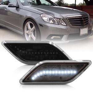Smoke Lens White LED Front Bumper Side Marker Light for 10-13 Benz W212 E-Class