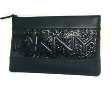 DKNY Black Sequined Patent Clutch / Make Up Bag. Donna Karan. New In Packaging