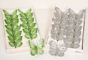 12 x Glitter Jewelled Clip-On Butterflies Decorative Weddings 8cm