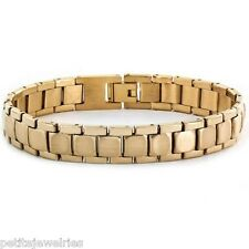 New! Men's Stainless Steel Gold Tone Classic Link Bracelet Jewelry