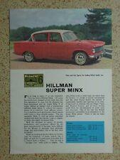 HILLMAN SUPER MINX - ORIGINAL Autocar Owner's Guide Sheet - from 1964.