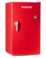 Igloo 3.2 Cu. Ft. Classic Red Refrigerator Freezer with Chrome Handle & Bottl...