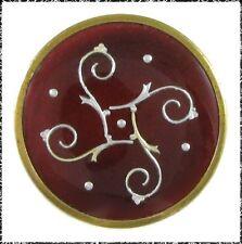 Vintage French Enamel Button - Medium Size Foil Tetraskelion Pattern on Dark Red