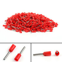 1000Pcs E0508 Wire Copper Crimp Connector 0.5mm² 22AWG Insulated Terminal Red CA