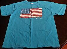 American Flag Youth Xl T-Shirt 100% Cotton Aqua Blue In Great Condition See Pics