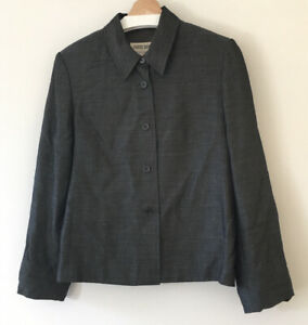 Country Road Cropped Wool Blazer Jacket Size 14 Vintage Perfect For Work Office