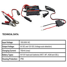 6V 12V Car Auto Bike Battery Charger 0.75-1.25Amp Rechargeable Power Supply