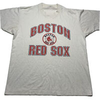 Vintage 80s Boston Red Sox Men's Size Large Single Stitch T Shirt White Red Thin