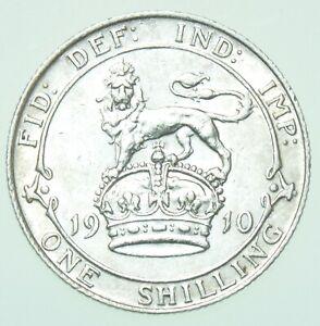 1910 EDWARD VII SHILLING, BRITISH SILVER COIN aEF