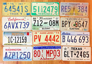 Starter Pack of 12 License Plates from 12 Different States