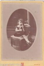 OLD CABINET PHOTO CHILDREN GIRL DRESS M H FONTES PARIS FRANCE