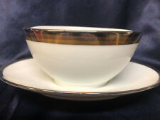 NORITAKE COMPTON GRAVY BOAT & ATTACHED UNDER PLATE PLATINUM GOLD BRONZE BANDS