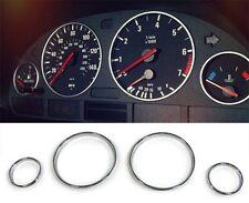 CHROME INSTRUMENT CLUSTER SPEEDO TACHOMETER TACHO RINGS BMW E39 , E38 & X5 E53