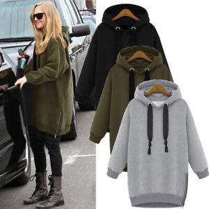 UK Womens Oversized Hooded Sweatshirt Dress Zip Up Casual Loose Tops Pullover
